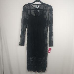 NWT Xhilaration Lace Black Long Sleeve Dress